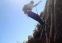 Mini rappel a caminho do topo do Agulhas